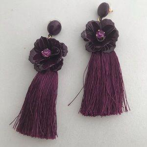 Jewelry - Baublebar Maroon Tasseled fringe earrings